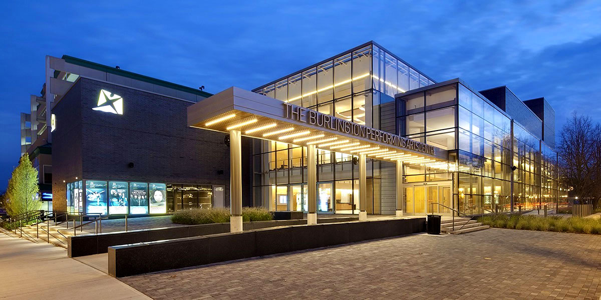Burlington Performing Arts Centre exterior photo at night