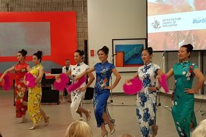 Chinese dancers perform in the Shoreline Room in the Art Gallery of Burlington