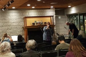 Slam Poets perform in the Fireside lounge in the Art Gallery of Burlington