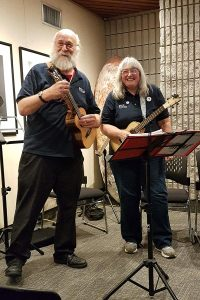 Poacher Ukelele Band perform in the Fireside lounge in the Art Gallery of Burlington