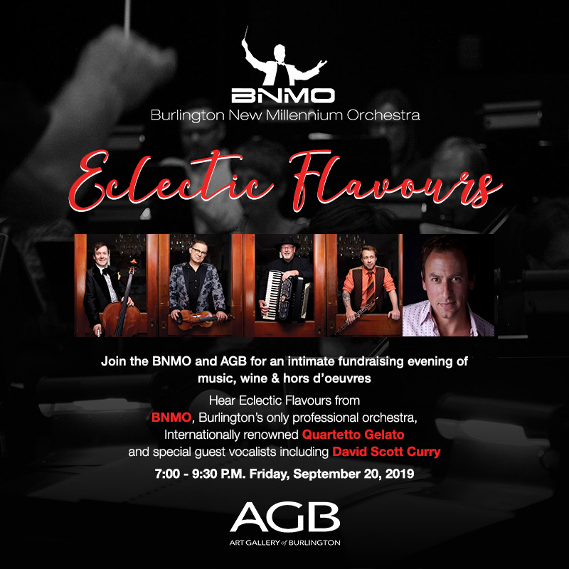 Promotion for BNMO Ecelectic Flavours fundraising event at the AGB with photo of Quartetto Gelato and David Scott Curry