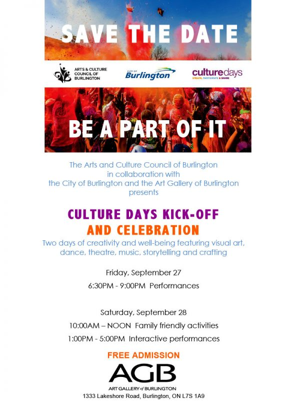 Poster to promote the Arts and Culture Council of Burlington Culture Day Kick-Off and Celebration. at the AGB