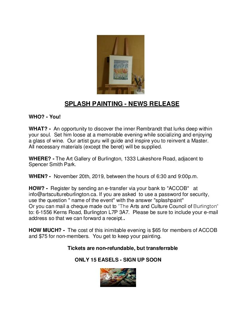 Splash Painting News Release 2019